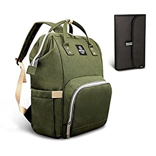Pipi bear Diaper Bag Travel Backpack Large Capacity Tote Shoulder Nappy Bag Organizer for Baby Care with Insulated Pockets,Waterproof Fabric (Olive Green)