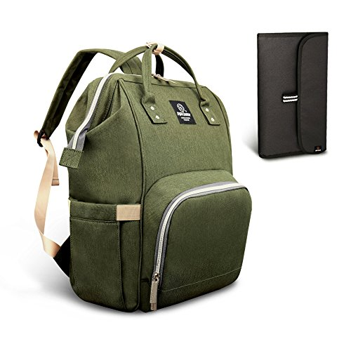 (Pipi bear Diaper Bag Travel Backpack Large Capacity Tote Shoulder Nappy Bag Organizer for Baby Care with Insulated Pockets,Waterproof Fabric (Olive Green))