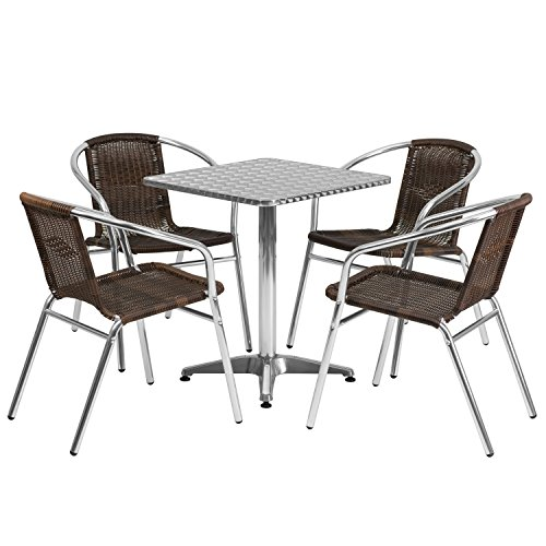 "Flash Furniture 23.5"" Square Aluminum Indoor-Outdoor Table Set with 4 Dark Brown Rattan Chairs Review"