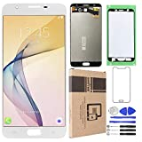 Srjtek Replacement Parts for Samsung Galaxy J7 Prime G610 G6100 G610F SM- G610M/DS SM-610F/DS On7 2016,with Touch Screen Digitizer USA Version,Tools Include(White)