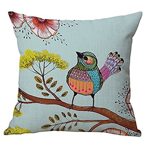 Pidada Cotton Blend Linen Square Throw Pillow Case Flowers and Birds Pattern Decorative Cushion Case Cushion Cover Pillowcase for Sofa Bed Chair Bench 18 X 18 Inch (Blue)