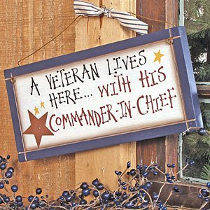 A Veteran Lives Here Wooden Sign | Rustic Home Decor Military Art | 12 x 5.5 Inch