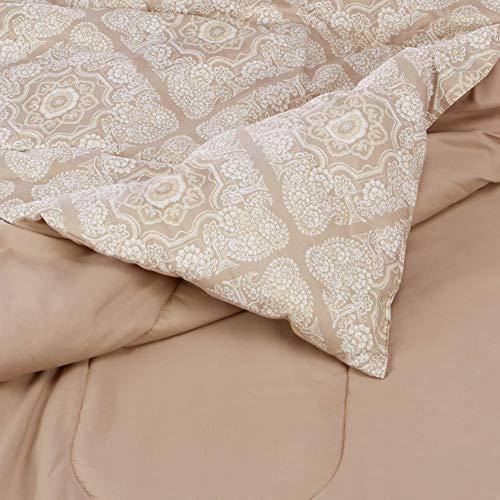 AmazonBasics Comforter Set, full/Queen, Tan Diamond, Microfiber, Ultra-Soft
