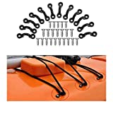 Vivona Hardware & Accessories 30Pcs Kayak Nylon Pad Eyes 60Pcs Stainless Screw with Lock Nuts Bungee Material C Type Buckle Kit