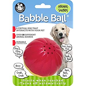 Pet Qwerks Animal Sound Babble Ball Interactive Dog Toys – Flashing Motion Activated Electronic Talking Ball, Treat Toy That Makes Animal Noises – Avoids Boredom & Keeps Dogs Active | for Large Dogs
