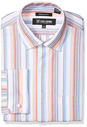 STACY ADAMS Mens Striped Classic Fit Dress Shirt