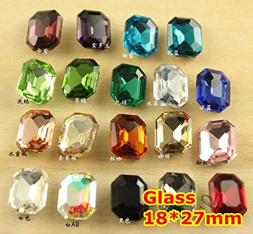 Kamas 72Pcs 1827mm Rectangle Octagon Crystal Fancy Stone Pointback Glass Foiled For Jewelry Making,Garment Use,weeding dress stones - (Color: Light Sapphire 72pcs)