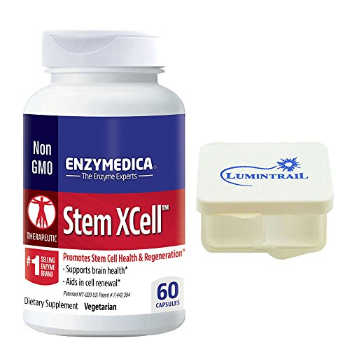 Enzymedica - Stem XCell, Promotes Cellular Health & Overall Well Being, 60 Capsules Bundle with Lumintrail Pill Case