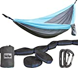 Felistar Hammock - Camping Double Hammock- Portable Parachute Nylon Hammock With Tree Straps & Alloy Carabiners For Backpacking Garden, Backyard,Hiking &Traveling(BLUE/GREY, DOUBLE)