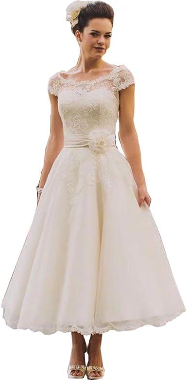 Chady Vintage Tea Length Lace Wedding Dress Plus Size 2019 Rustic