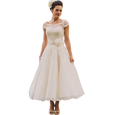 8ccc12c5f16 Chady Vintage Tea Length Lace Wedding Dress Plus Size 2019 Rustic Country  Cap Sleeves Wedding Dress at Amazon Women s Clothing store