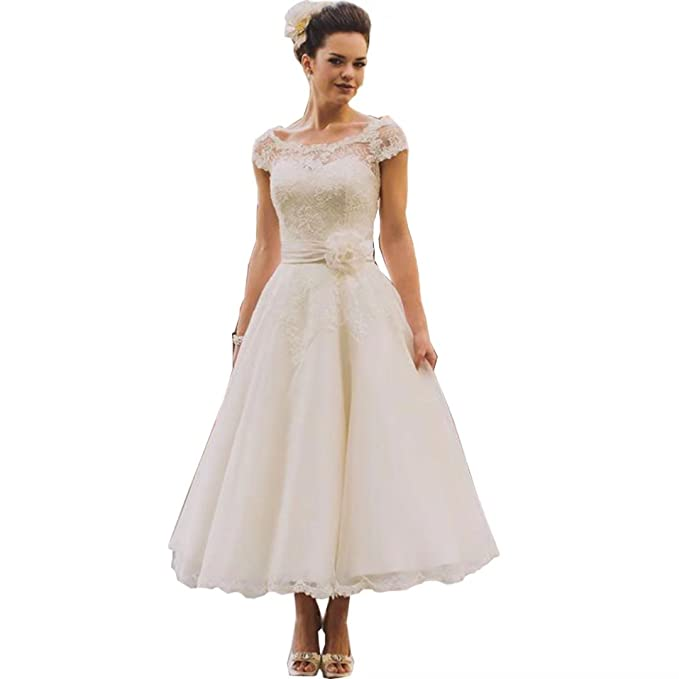 Chady Vintage Tea Length Lace Wedding Dress Plus Size 2019 Rustic Country  Cap Sleeves Wedding Dress