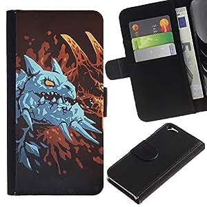 Protector de cuero de la PU de la cubierta del estilo de la carpeta del tirón BY RAYDREAMMM - Apple Iphone 6 - Dragón azul
