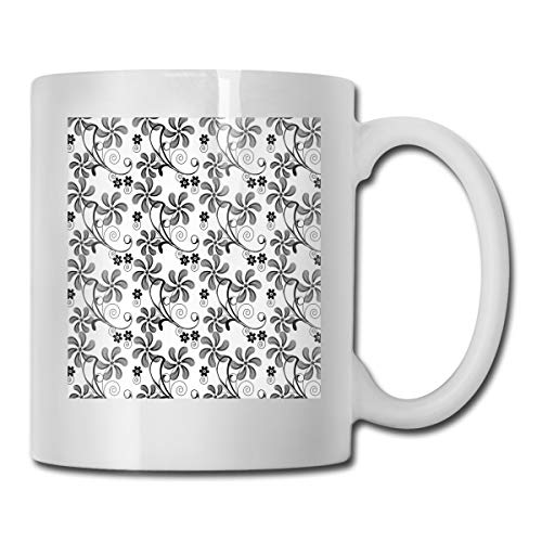 Funny Ceramic Novelty Coffee Mug 11oz,Monochrome Doodle Style Blooming Plants In Various Shapes Swirls And Lines Image,Unisex Who Tea Mugs Coffee Cups,Suitable for Office and Home