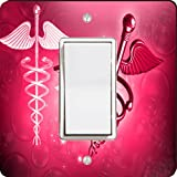 Rikki Knight 8864 Single Rocker Red Medical Doctor Symbol Design Light Switch Plate