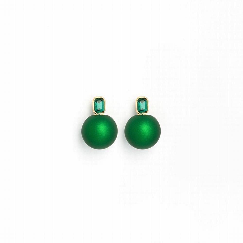 Ling Studs Earrings Hypoallergenic Cartilage Ear Piercing Simple Fashion Earrings Ear Jewelry Earrings Imitation Pearl Short Simple Ball Green