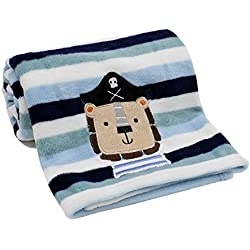 Lambs & Ivy Little Pirates Coral Fleece Blanket by Lambs & Ivy