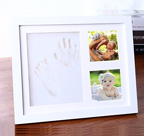Olivery Baby Hand amp Foot 3D Model DIY Casting Picture Frame Kit 100% Safe NonToxic AirDry Clay Premium Wood Frame with Glass Cover  Unique Shower Gift for Newborn Registry amp Memorable Keepsakes