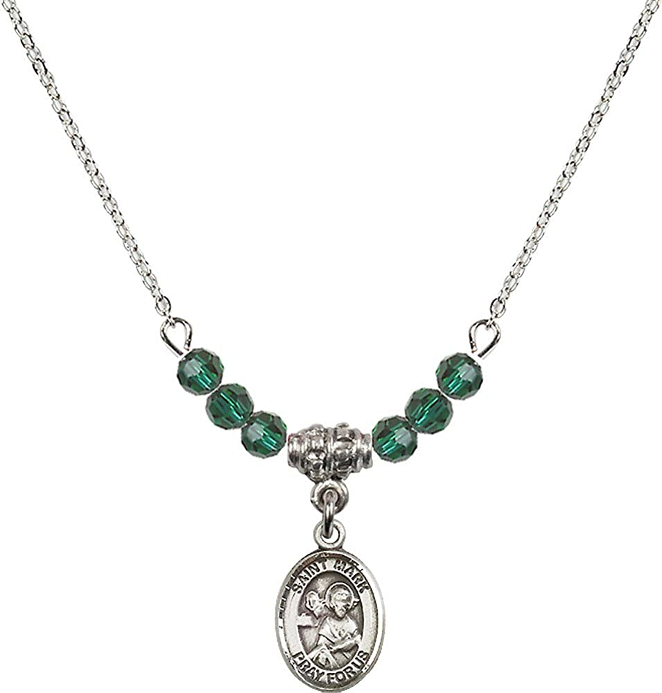 18-Inch Rhodium Plated Necklace with 4mm Emerald Birthstone Beads and Sterling Silver Saint Mark the Evangelist Charm.
