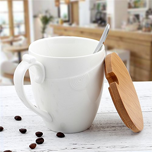Porcelain Coffee Mug with Bamboo Lid - Ceramic Handle - Stainless Steel Spoon - Circle Pattern, Best Handmade Pottery Cup for Your Kitchen Home Office Dinner Counter- Tea Milk- White, 350 ml (12 oz) (Mug Pottery Lid)