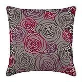 "Designer Grey Shams, Multi Color Beaded Rose Flower Floral Theme Pillow Shams, 24""x24"" Pillow Shams, Square Cotton Linen Shams, Art Deco Pillow Shams - Rose Diva"