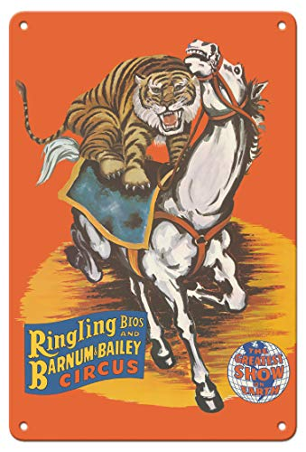 - Pacifica Island Art 8in x 12in Vintage Tin Sign - Ringling Bros and Barnum & Bailey Circus - Tiger On Horse