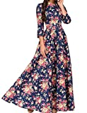 Simple Flavor Women's 3/4 Sleeve Floral Print Vintage Maxi Dress(Navy Blue,L)