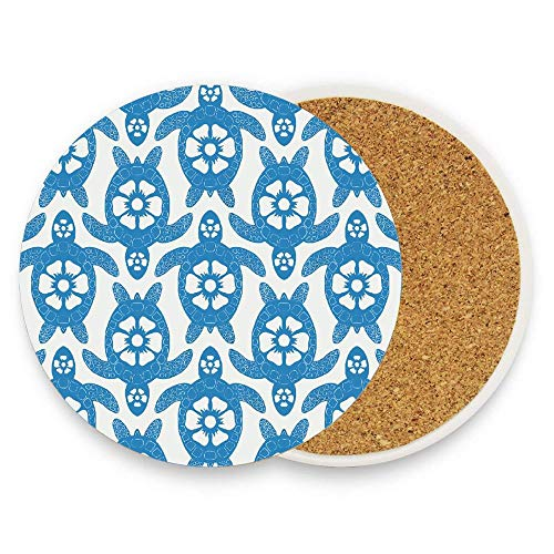Koperororo Hawaiian Flower Turtle Stripes Coaster for Drinks Absorbent Stone Ceramic Coaster With Coaster for Drink with Cork Backing,Pack Of 1