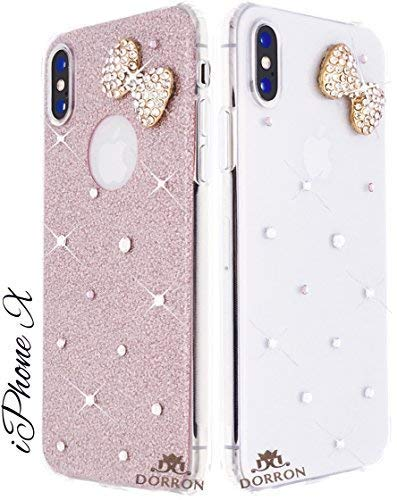 detailed look b58e5 da28a DORRON Glitter Bling Designer Fancy Soft Back Case Cover for iPhone X / 10  (Rose Gold_Bowknot)