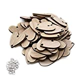 ElekFX 50 Pack Calendar Wooden Heart & Ring Parts Birthday Reminder Plaque Home Decor (Heart+Ring)