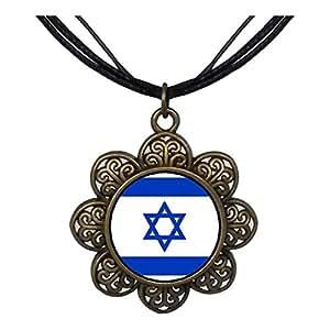 Chicforest Bronze Retro Style Israel flag Sun Flower Pendant
