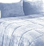 Newpoint Microplush Corduroy King Comforter Mini Set, Mineral Blue