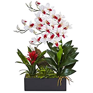 Nearly Natural Dendrobium Orchid and Bromeliad Silk Arrangement, White 15