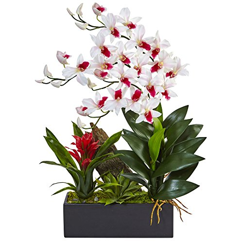 Dendrobium Silk Orchid Arrangement - Nearly Natural Dendrobium Orchid and Bromeliad Silk Arrangement, White