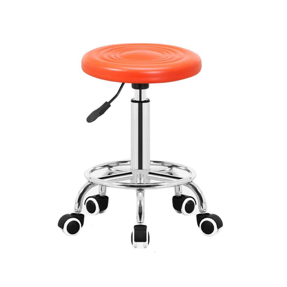 orange Pulley Dall Bar Stools PU Kitchen Swivel Bar Chairs Breakfast Chrome Adjustable Seat Height (color   Black, Size   Disc)