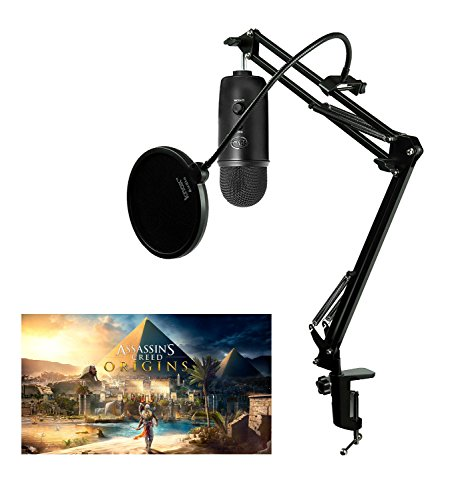 Blue Microphones Blackout Yeti USB Microphone with Knox Studio Arm and Pop Filter by Blue Microphones