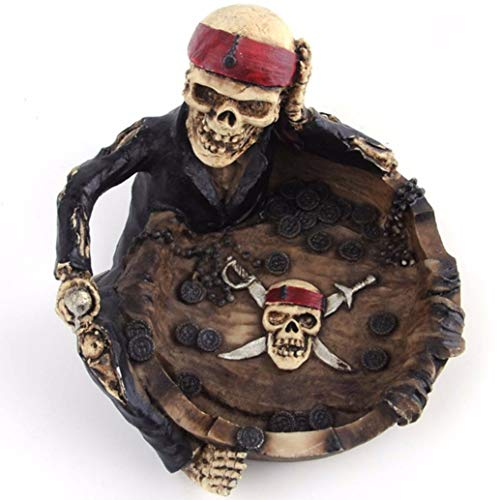 (YOTATO Unisex Mens Resin Ashtray Creative Home Office Lovely Cartoon Pirate Captain Skeleton Funny Gift Personality)