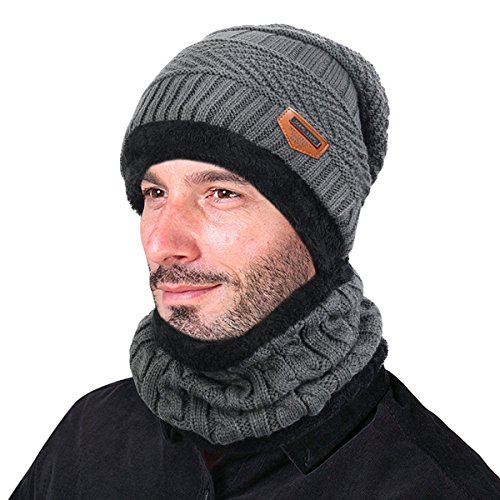 ABLE Men Winter Slouchy Beanie Hat Scarf Set Women Lined Thick Knit Skull Cap (Gray)