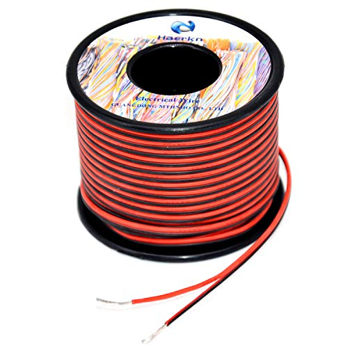 22 awg Silicone Electrical Wire 2 Conductor Parallel Wire line 200ft [Black 100ft Red 100ft] 22 Gauge Soft and Flexible Hook Up oxygen free Stranded Tinned copper wire ()
