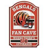 """NFL Cincinnati Bengals 05418010 Wood Sign, 11"""" x 17"""", Black"""