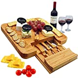 Bamboo Cheese Board & Cutlery Set with Slide-Out Drawer, 4 Piece Stainless Steel Knife, Charcuterie Plate & Serving Tray of Wine, Crackers. Includes 3 Label & Chalk, Fancy Wedding & Housewarming Gift