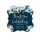 Andaz Press Navy Blue Hydrangea Floral Garden Party Baby Shower Collection, Personalized Fancy Frame Gift Tags, Thank You for Celebrating With Us, 24-Pack, Chloe's Bridal Shower Custom Name