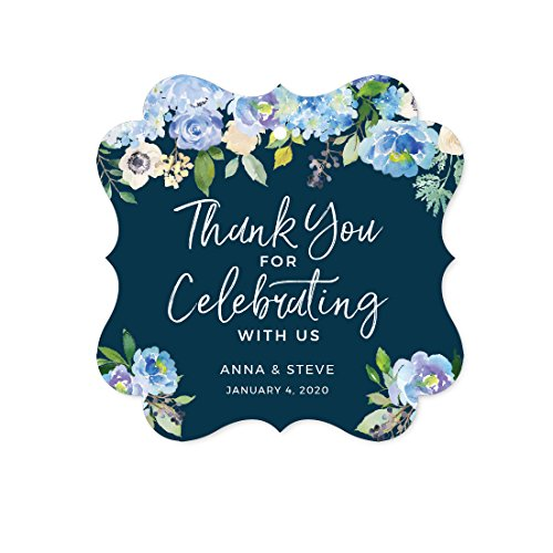 Price comparison product image Andaz Press Navy Blue Hydrangea Floral Garden Party Wedding Collection,  Personalized Fancy Frame Gift Tags,  Thank You for Celebrating With Us,  24-Pack,  Custom Name