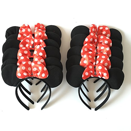 VOVOV Minnie Mouse Deluxe Mouse Ears Headband-(Lot of 12) ()