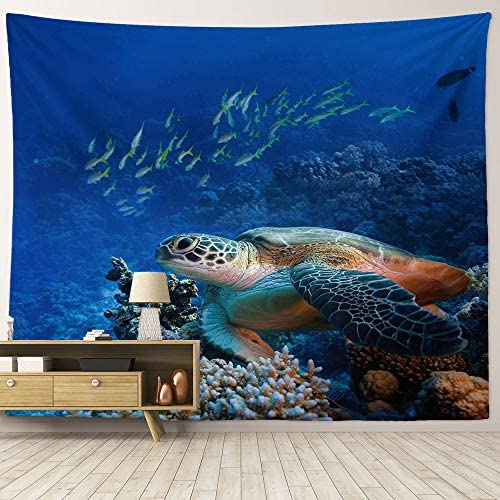 HIYOO Home Nature Art Wall Hanging Fabric Tapestry, Ocean Sea Underwater World Seabed Coral Reef Tapestry, Decor For Dorm Room, Bedroom, Living Room, Background – Bottom Sea Turtles 90 W x 71 L