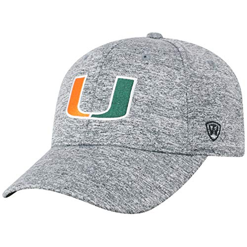 Miami Hat Top - Top of the World Miami Hurricanes Men's Hat Icon, Charcoal, Adjustable