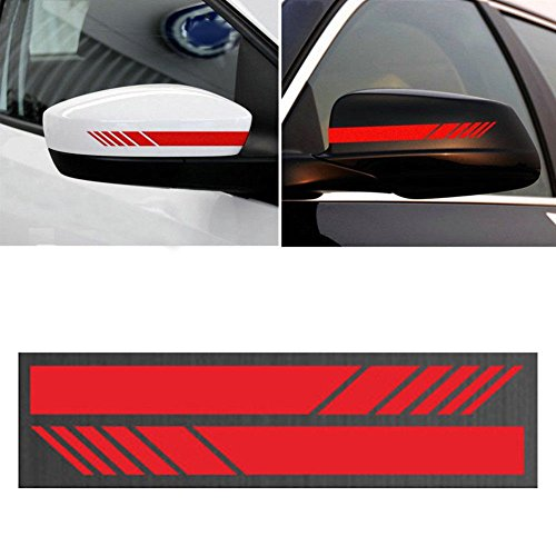 YOUNGFLY 2pcs Car Rear View Mirror Stickers Decor DIY Car Body Sticker Side Decal Stripe Decals SUV Vinyl Graphic Red