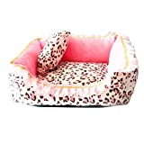 Cute Pink Puppy Sleeping Mat Bed with Leopard Pattern Round Square Shape Cat Dog Sofa Bed Pet House Nest Cave (M, square bed)