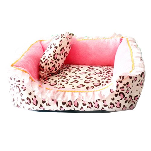 Cute Pink Puppy Sleeping Mat Bed with Leopard Pattern Round Square Shape Cat Dog Sofa Bed Pet House Nest Cave (M, square bed) by Pet-Saymequeen