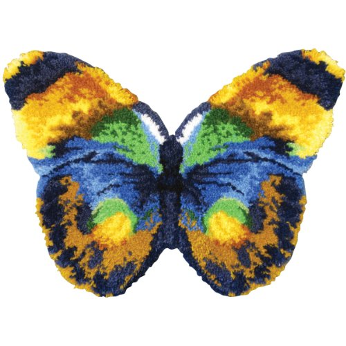 MCG Textiles 37715 Butterfly Shaped Latch Hook Rug Kit, 32 by 24-Inch